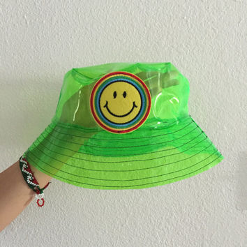 Green neon smiley face bucket hat, grunge bucket hat, rave, vapor wave, see through hat, waterproof hat, rain coat, festival accessories