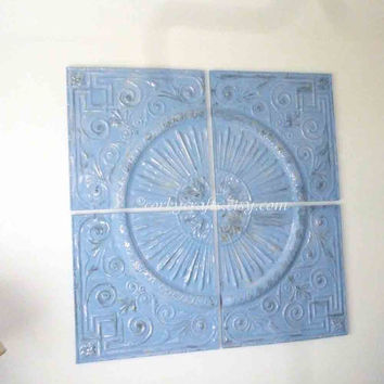 Ceiling Tin Wall Art - 4 pc headboard alternative, home decor, medallion wall art