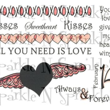 Heart Wings Rubber Stamp Set, 00-454P5