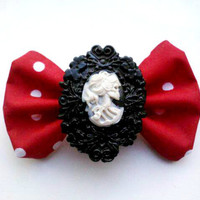 Psychobilly Small Skeleton Cameo Hair Bow- Red Black White