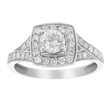 0.50 Carats 1 CT Diamond Halo 4-Prong Set Wedding Engagement Ring 14K White Gold