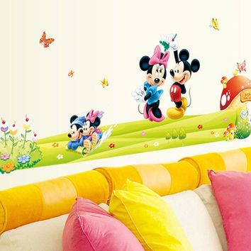 Removable PVC Cartoon Minnie&Mickey Mouse Wall Sticker For Kids Room Baby Nursery Wall Stickers Decal Bedroom Art Wallpaper