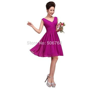 drnwof 2017 Short Mini Bridesmaid Dresses Double Shoulder V-neck Fit Junior Color Purple Red Yellow Pink Party Women Dress