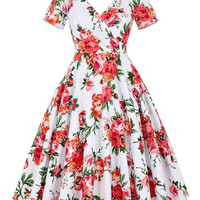 Women Summer Dress 2017 Short Sleeve Hollowed Back Retro Vintage Cotton floral Tunic Party Casual Rockabilly 60s 50s Dresses