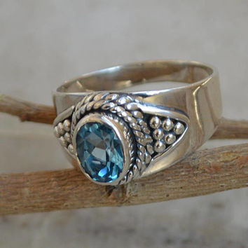 Blue Topaz ring,92.5% Sterling silver ring,silver Blue Topaz rings,gemstone ring,Gemstone silver ring,Topaz women's rings handmade Oval cut