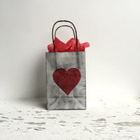 Small Hand Distressed paper Gift Bag, Heart-  Silver ,red, black, and Kraft , any occasion, love, goth