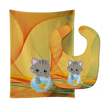 Kitten in the Fish Bowl Baby Bib & Burp Cloth BB6879STBU
