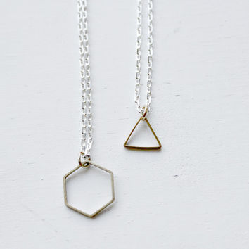 Hexagon or Triangle Tiny Delicate Shape Necklace Gold on Silver 18 inch Chain with Gift Box Included