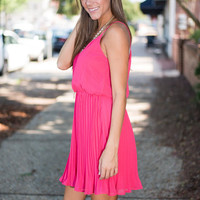 Pleats To Meet You Dress, Coral