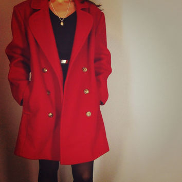 Vintage Red Wool Over Coat , Classic Pea Coat, Knee Length Winter Jacket, Medium, Made by Worthington
