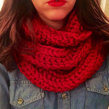 Red Infinity Scarf, Cardinal Red Hand Crochet Circle Scarf, Fall Scarf, Holiday Scarf, Christmas Scarf, Chunky Cowl, Bright Red Scarf