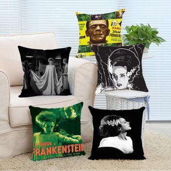 Retro Frankenstein Throw Pillow Covers