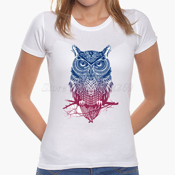 Hot Sale Women's Fashion Nice Animal Printed Customized T shirt Colorful Art Owl Design Famale Casual Tops Girl's Novelty Tee