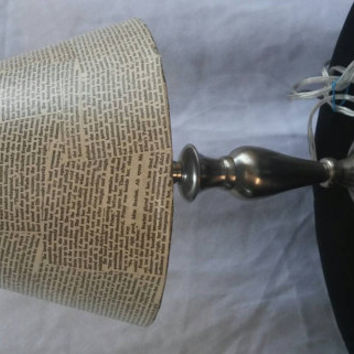 Full functioning lamp with upcycled literary lamp shade
