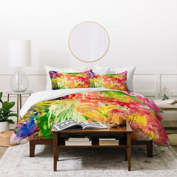 Fresh Artists Chartreuse Drips Duvet Cover