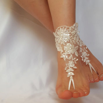 ivory barefoot french lace sandals beach wedding embroidered  anklet free ship bridesmaid amazing beaded scaly pearls weddingday