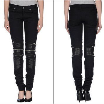 88 SL Quilted Stitching Leather Panel Multi Zip Skinny Biker Motorcycle Zipper Jeans for Women