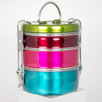 Iconic 'Tiffin' Lunch Box, perfect for picnics, camping, comes in a variety of fabulous, bright colours.