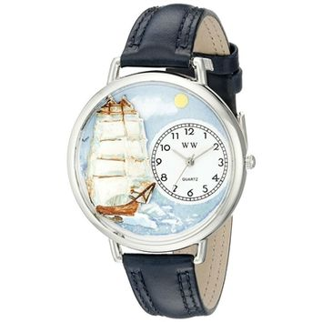 SheilaShrubs.com: Unisex Sailing Navy Blue Leather Watch U-0810001 by Whimsical Watches: Watches