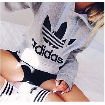 """Adidas"" Women Fashion Hooded Top Sweater Pullover Sweatshirt Grey"