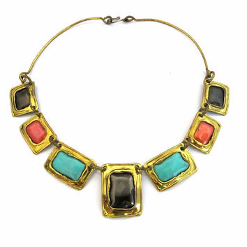 Enamel Brass Necklace, Brutalist Necklace, Geometric Necklace, Black and Turquoise Blue, Coral 1970s Handmade Vintage Brutalist Jewelry