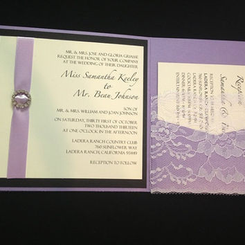 50 Wedding Lilac & Lace with Round by PaperDivaInvitations on Etsy