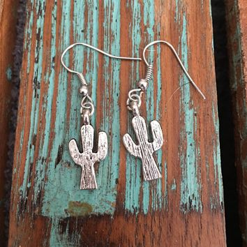 Dainty Silver Cactus Earrings
