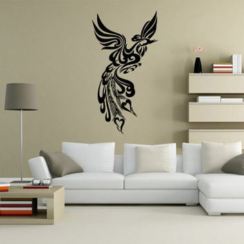 Wall Vinyl Sticker Decals Decor Art Bedroom Design Mural Poultry Firebird Peacock Peaflowl Bird Tribal (s27)