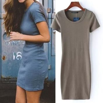 Round Neck Ribbed Slim T-shirt Dress B0014639