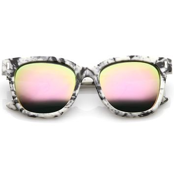 Marble Stone Print Bold Horned Rim Mirrored Lens Sunglasses C387