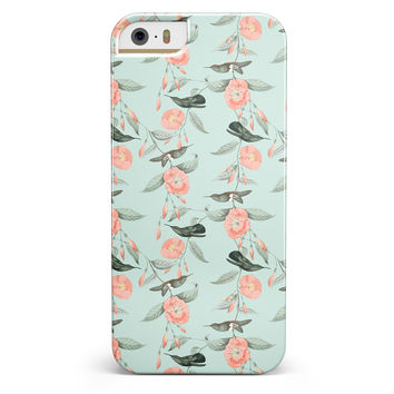 The Vintage Mint Floral Hummingbird  iPhone 5/5s or SE INK-Fuzed Case