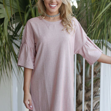 Good Golly Striped Ivory & Rust Tunic Dress