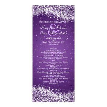 Elegant Wedding Program Sparkling Wave Purple Invites from Zazzle.com