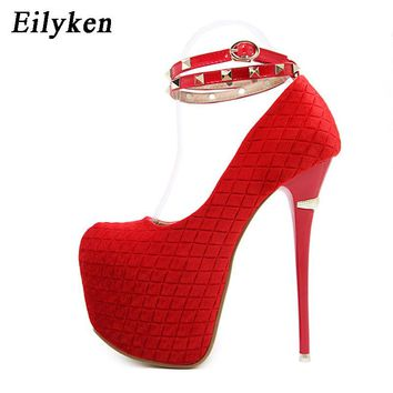 Eilyken 2018 New Rivet Buckle Strap Sexy Pumps Red Wedding shoes Women Pumps Platform Party shoes For Women
