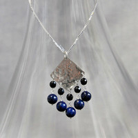 hammered silver and blue lapis pendant