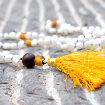 White pearl japa mala necklace Hand beaded bohemian yellow tassel necklace 108 prayer bead Golden sea glass meditation beads Boho jewellery