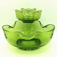 Vintage Anchor Hocking Green Glass Chip and Dip Bowls Party Server Set
