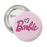 Barbie logo with hearts pinback buttons from Zazzle.com