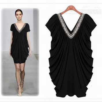 VONE2B5 Dress Summer Women loose style plus size clothes Short sleeve Black Solid Deep V neck High Quality fashion design Free shipping