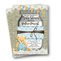 Rustic Baby Shower invitation boy mason jar blue teddy bear printed or printable boy blue orange rustic girl invite lace ballerina burlap