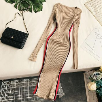 Amolapha Women Knit Vertical Striped Dress Long Sleeve Slim Knitted One-piece Autumn Winter Dresses Vestidos