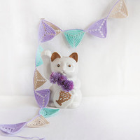 Crochet Triangle Bunting - Lavender Ecru Mint Garland - Baby Room Decor