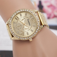 2016 New Luxury Kanima Brand Crystal Diamond Bling Gold Rose Gold Silver Steel Alloy Quartz Wristwatch Watch for Women Girls