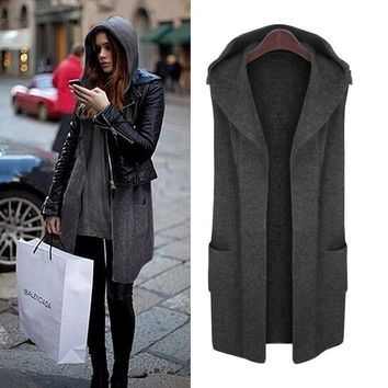 Large Size Autumn Winter Women Cardigans Sweaters 2017 New Casual Loose Hooded Sweater Vest Coat Plus Size Women Winter Clothing