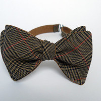 Self Tie Bow Tie by BartekDesign - groom wedding classic retro freestyle necktie chic handmade gift for him - brown red tartan double linen
