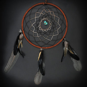Large Dream Catcher With Black and Green Stripes, Long Feathers, and Turquoise