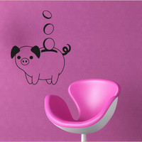 Wall decal decor decals art moneybox money pig coin gift (m512)