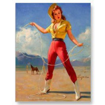Vintage Gil Elvgren Ranch Wester Pin up girl Post Card