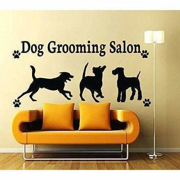 Fashion Pet Shop Vinyl Wall Decal Dog Grooming Salon Sign Mural Art Wall Sticker Pet Salon Pet Shop Window Glass Room Decoration