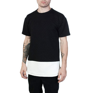 Quilted Black & White Tee